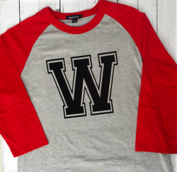 "Vintage Wayne County ""W"" Raglan--Any team or color."