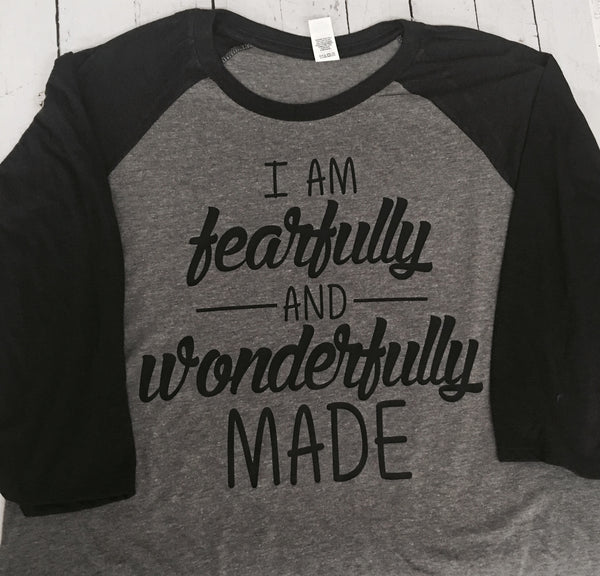 Fearfully and Wonderfully Made Triblend Baseball Raglan