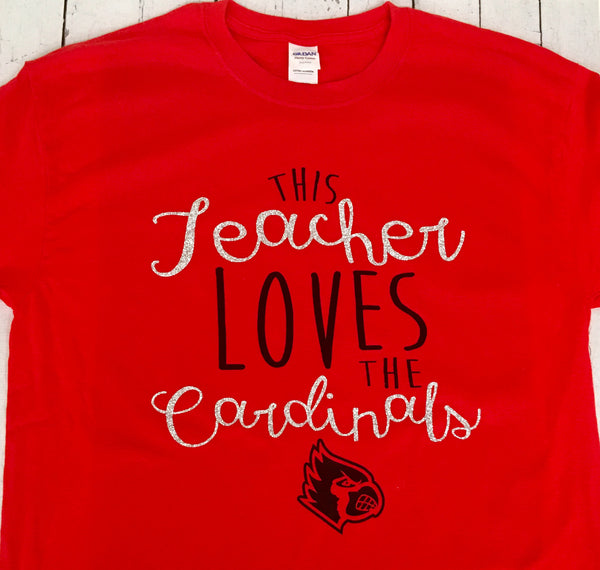 This Teacher Loves The Cardinals T-Shirt (Customizable)