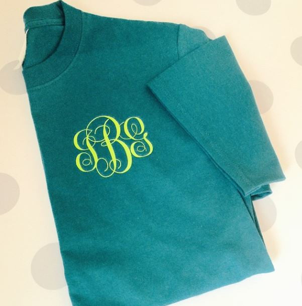 Personalized Monogrammed Short Sleeve T Shirt With Chest