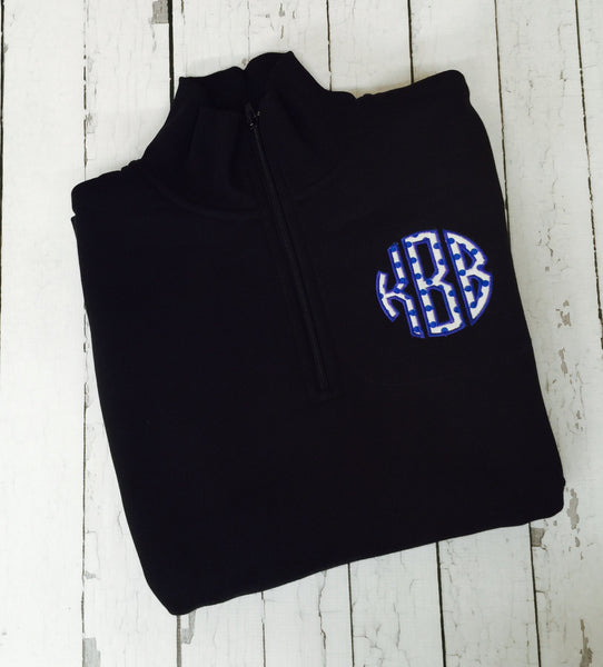 Personalized Monogrammed APPLIQUE Embroidered 1/4 Zip Sweatshirt (Left Chest) Youth and Adult Sizes