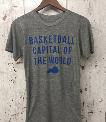 Basketball Capital Polyblend Gray Tee
