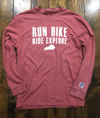 Run Hike Ride Explore Kentucky Long Sleeve T-Shirt