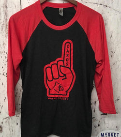 WC Cardinals #1 Baseball Raglan
