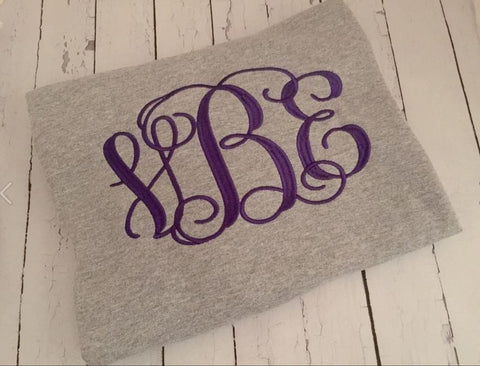 Personalized Monogrammed Embroidered Crew Sweatshirt (Full Chest) Youth and Adult Sizes