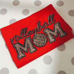 Volleyball MOM T-Shirt with Silver Glitter Print