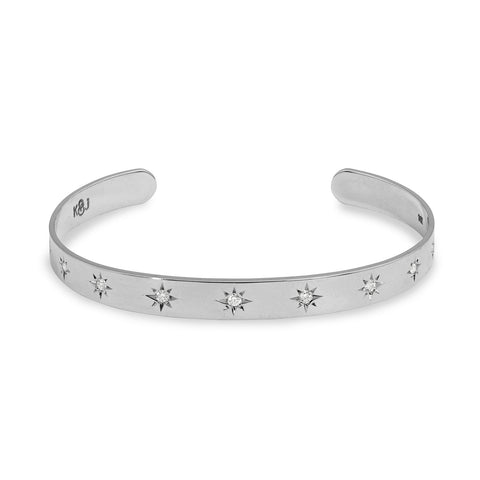 Sterling Silver and Diamond Star Cuff, Jewelry - Katherine & Josephine