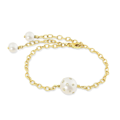 Yellow Gold, Pearl & Diamond Chain Bracelet,  - Katherine & Josephine