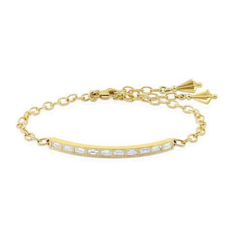 Yellow Gold Diamond Baguette Bar Bracelet, Jewelry - Katherine & Josephine