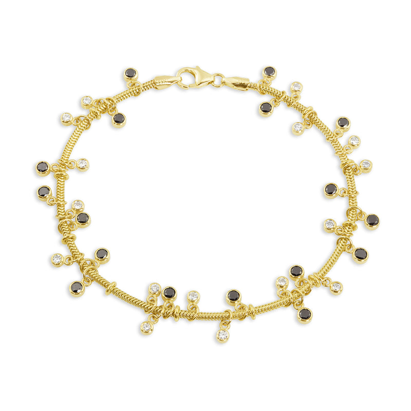 Gold Snake Chain Bracelet with Black & White Diamonds,  - Katherine & Josephine