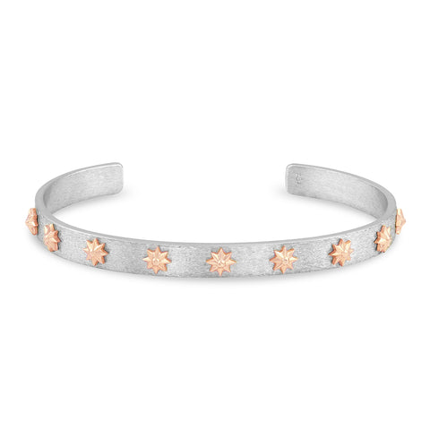 Sterling Silver and Rose Gold Star Cuff, Jewelry - Katherine & Josephine