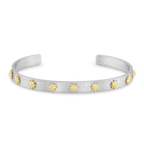 Sterling Silver and Yellow Gold Star Cuff, Jewelry - Katherine & Josephine