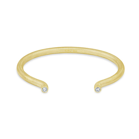 Large Yellow Gold Round Solid Tube Cuff, Jewelry - Katherine & Josephine