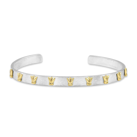 Sterling Silver and Yellow Gold Tulip Cuff, Jewelry - Katherine & Josephine