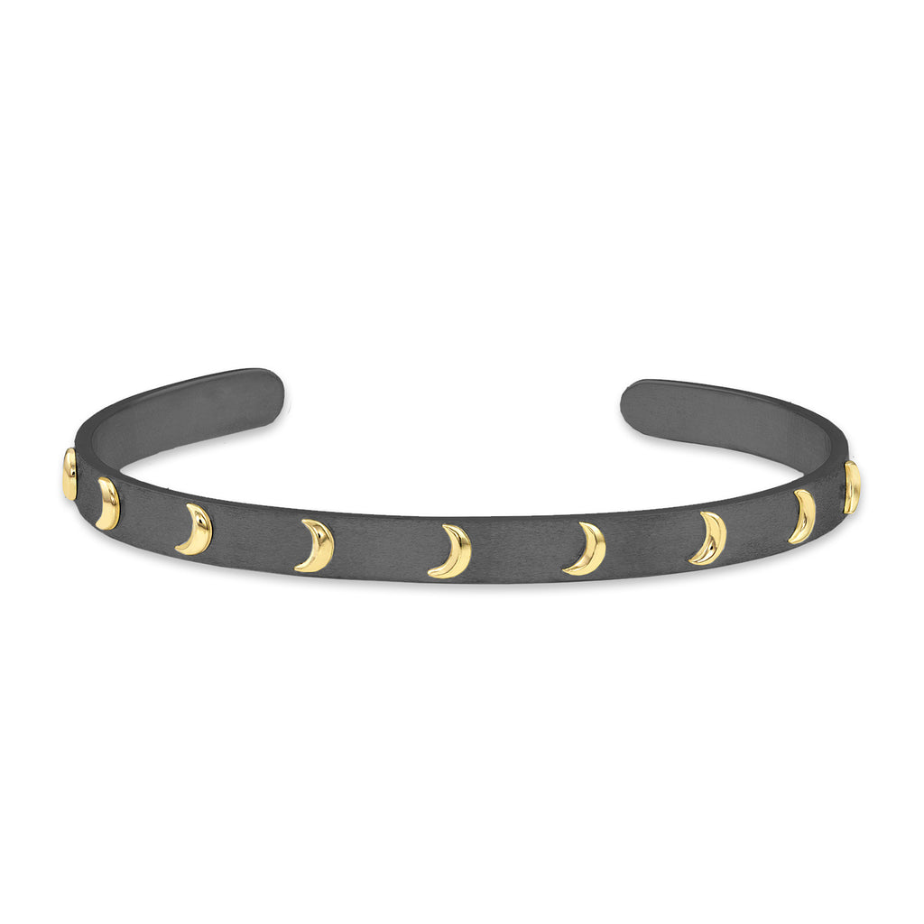 Raised Gold Crescent Moon Cuff, Jewelry - Katherine & Josephine