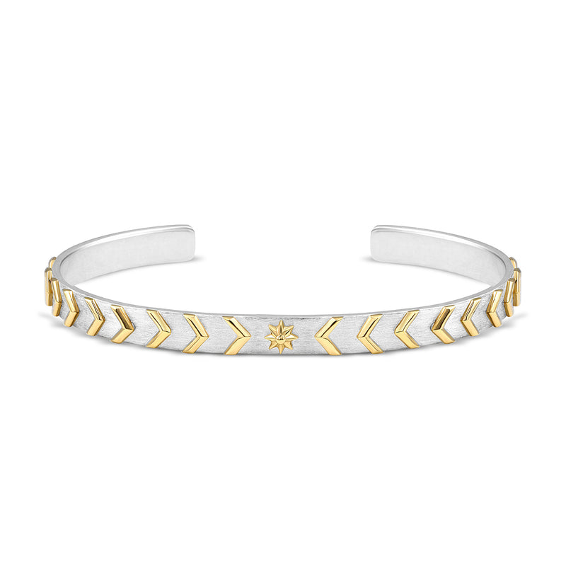 Raised Gold Chevron & Star Cuff, Jewelry - Katherine & Josephine