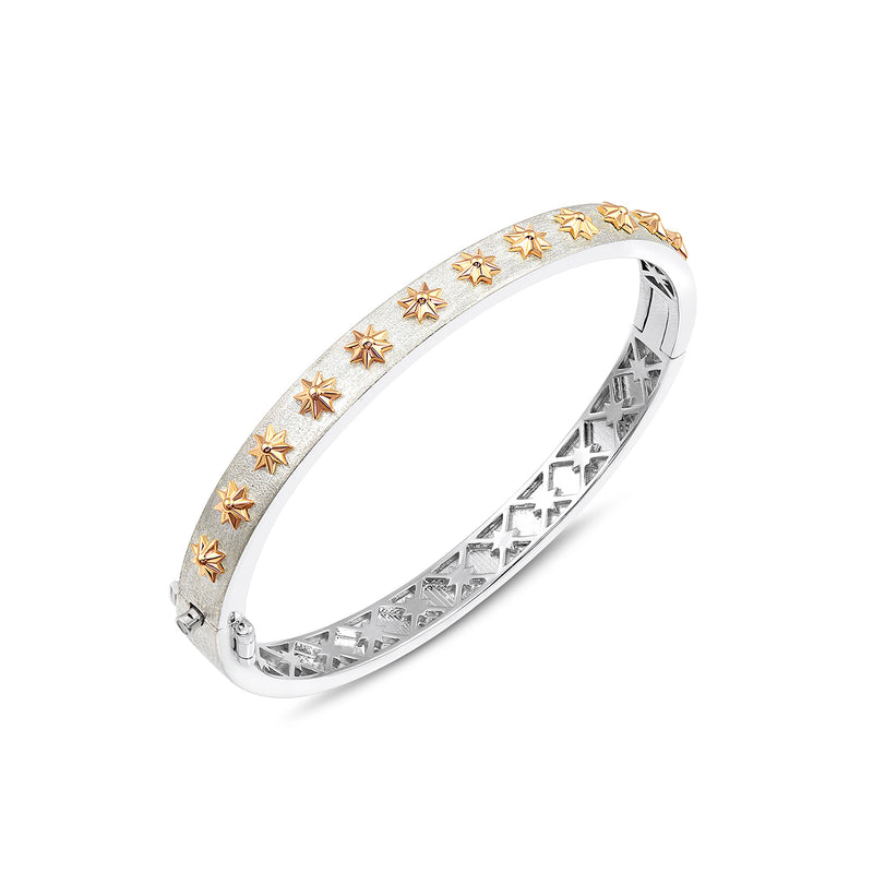 Sterling Silver and Gold Star Hinged Bracelet, Jewelry - Katherine & Josephine