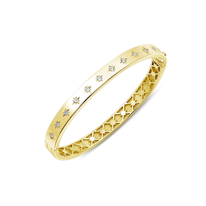 Diamond Star Hinged Bracelet, Jewelry - Katherine & Josephine