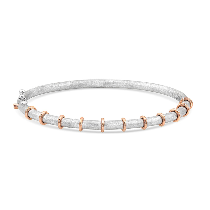 Sterling Silver and Gold Bamboo Hinged Bracelet,  - Katherine & Josephine