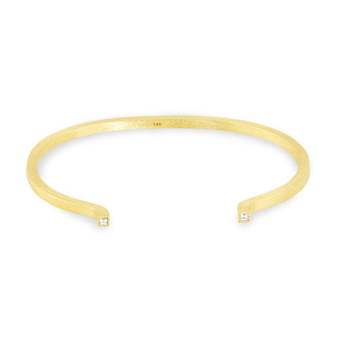 Yellow Gold Square Solid Tube Cuff, Jewelry - Katherine & Josephine