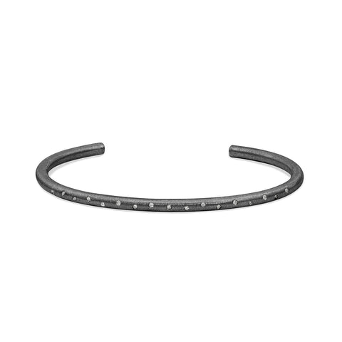 Sterling Silver Black Rhodium Flush Set Round Solid Tube Cuff, Jewelry - Katherine & Josephine