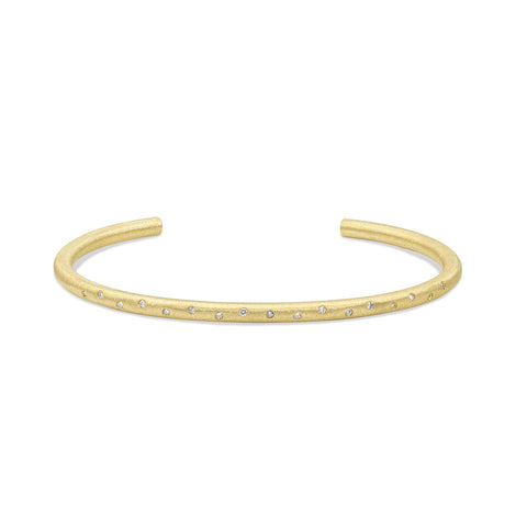Yellow Gold Flush Set Round Solid Tube Cuff, Jewelry - Katherine & Josephine