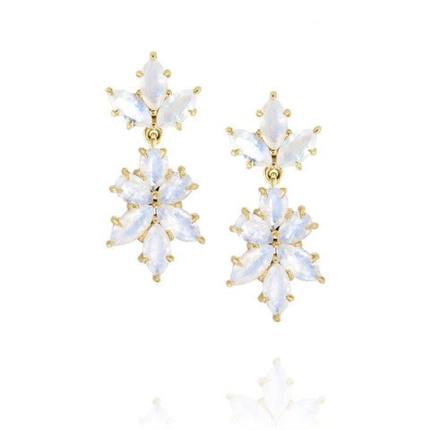 Yellow Gold Bouquet Drop Earrings