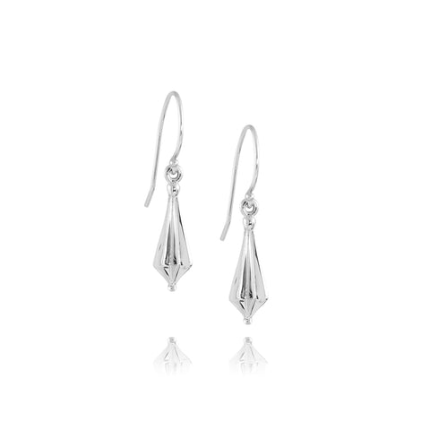 White Gold Star Drop Earrings