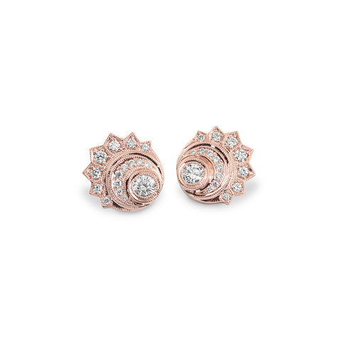 Rose Gold Crescent Moon Earrings,  - Katherine & Josephine