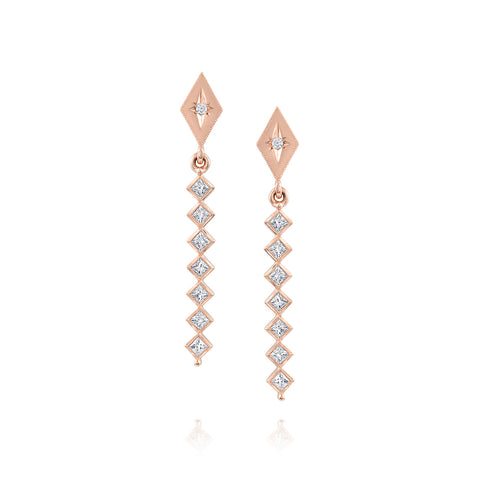Rose Gold Kite Shape Drop Earrings