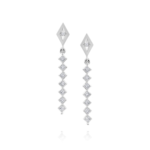 White Gold Kite Shape Drop Earrings