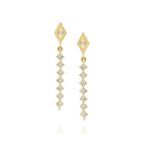 Yellow Gold Kite Shape Drop Earrings