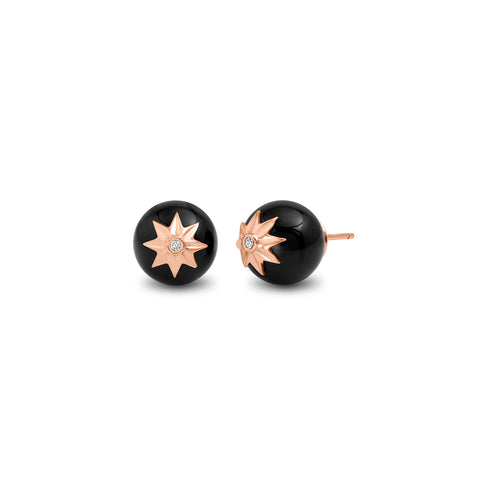 Rose Gold Black Onyx Orb Earrings