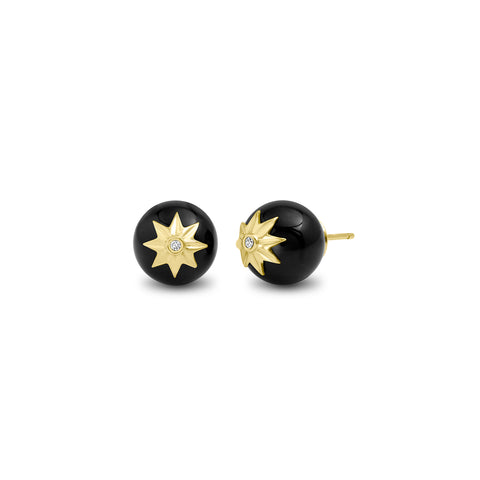 Yellow Gold Black Onyx Orb Earrings
