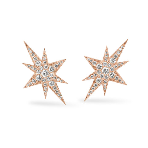 Rose Gold Elongated Star Earrings, Jewelry - Katherine & Josephine