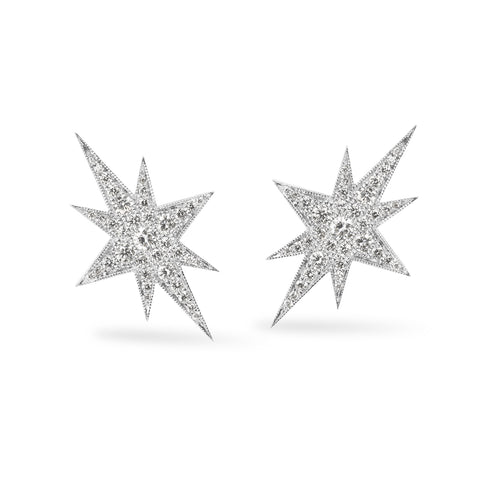 White Gold Elongated Star Earrings, Jewelry - Katherine & Josephine
