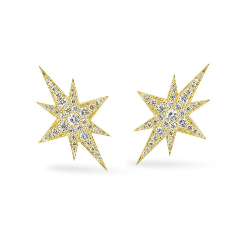 Yellow Gold Elongated Star Earrings, Jewelry - Katherine & Josephine