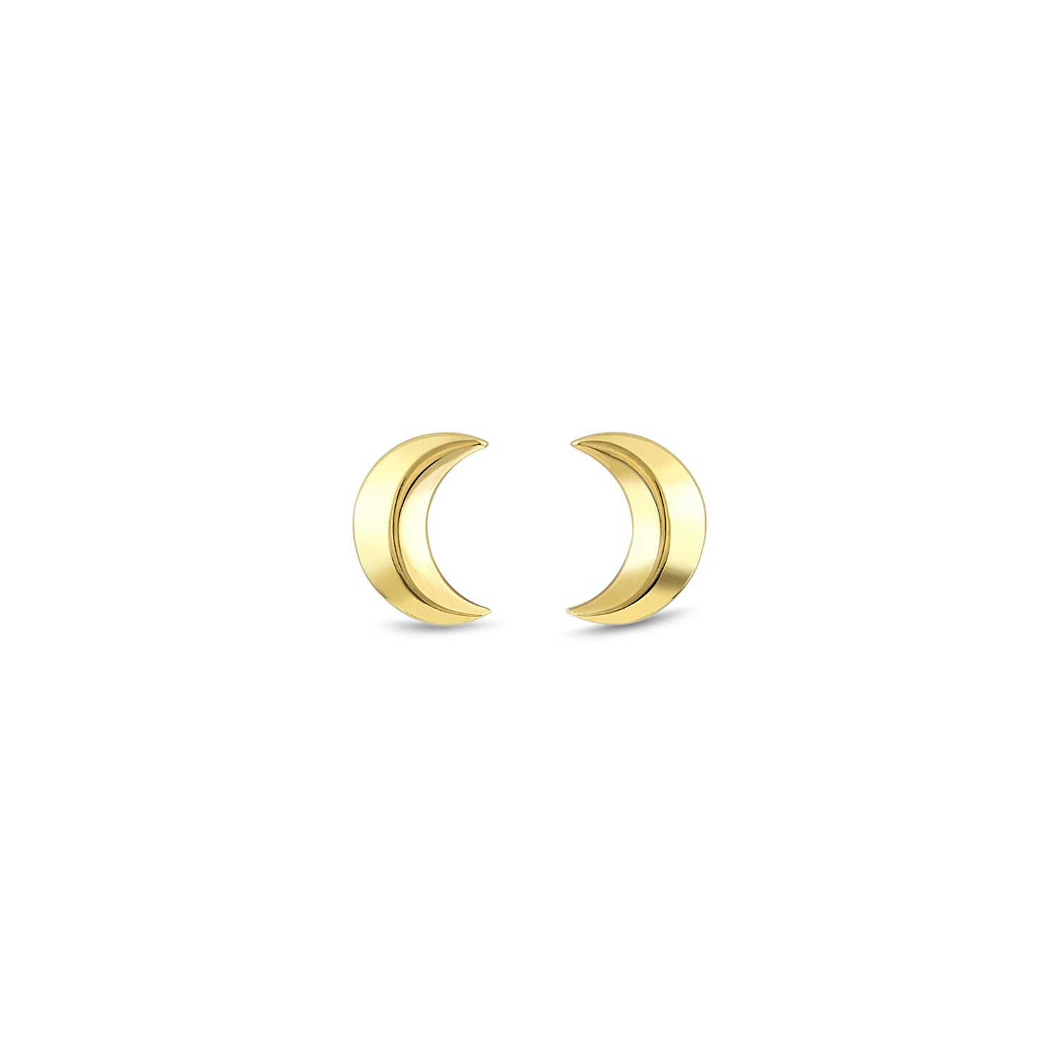 Gold Small Crescent Moon Studs, Jewelry - Katherine & Josephine