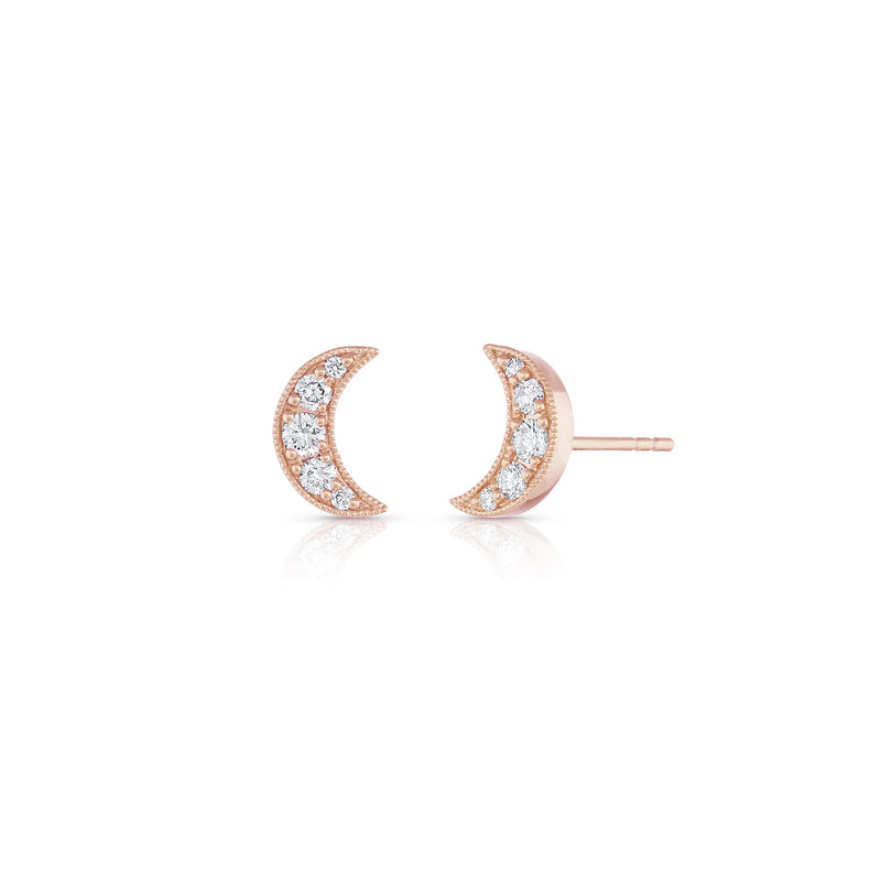 Gold & Diamond Small Crescent Moon Studs,  - Katherine & Josephine