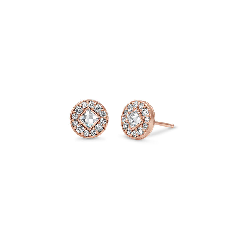 Gold French Cut Diamond Halo Studs,  - Katherine & Josephine