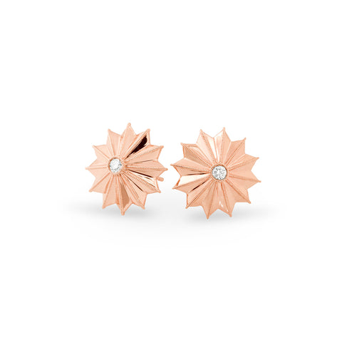 Rose Gold Ray Star Earrings