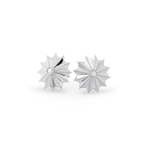 White Gold Ray Star Earrings