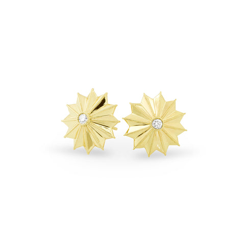 Yellow Gold Ray Star Earrings