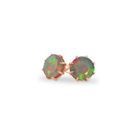 Rose Gold Ethiopian Opal Stud Earrings, Jewelry - Katherine & Josephine