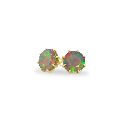 Gold Ethiopian Opal Stud Earrings, Jewelry - Katherine & Josephine