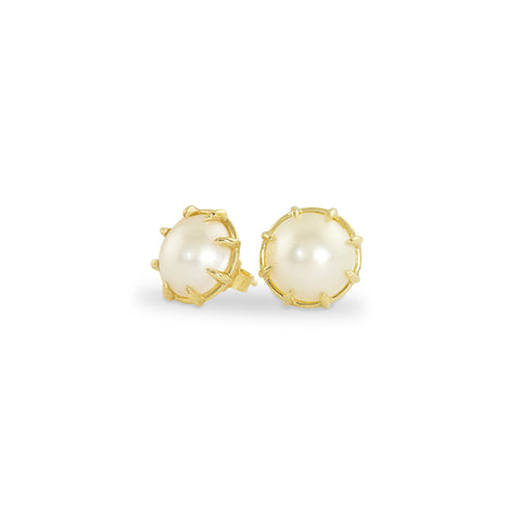 Yellow Gold Pearl Stud Earrings, Jewelry - Katherine & Josephine