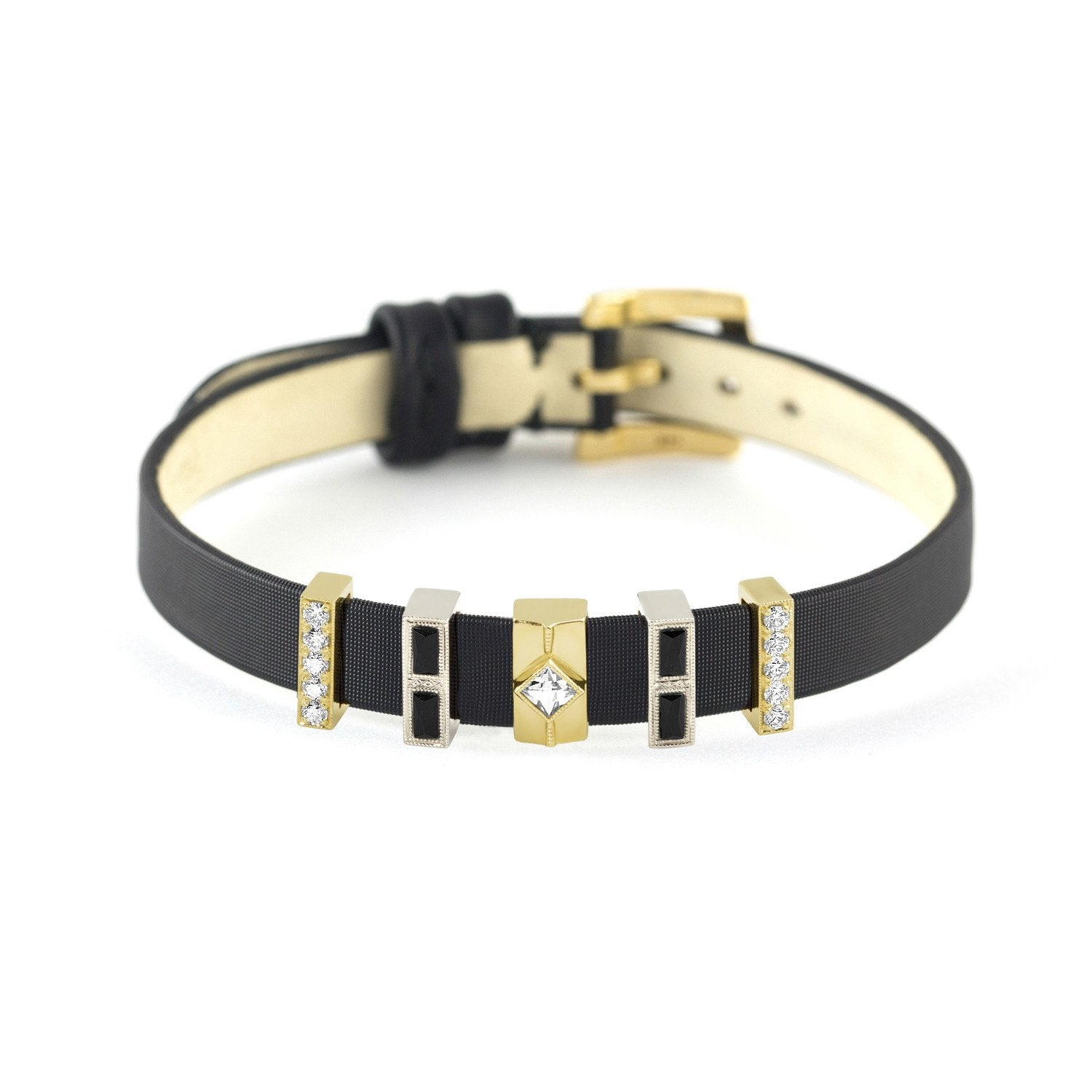 Black Onyx & Diamond Five Slide Bracelet, Jewelry - Katherine & Josephine