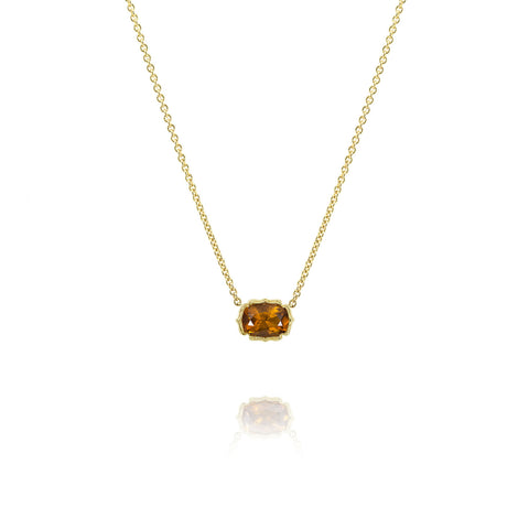 Yellow Gold Scallop Bezel Necklace, Jewelry - Katherine & Josephine