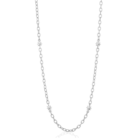 White Gold Star Link Chain Necklace