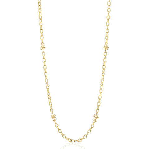 Yellow Gold Star Link Chain Necklace